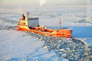 As sea ice melts, ship traffic increases, interfering with wildlife migrations and breeding and increasing the risk of a catastrophic oil spill. Photo credit: U.S. Coast Guard/ Charly Hengen